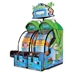 Big Bass Wheel amusement game two cabinets with jackpot marquee image