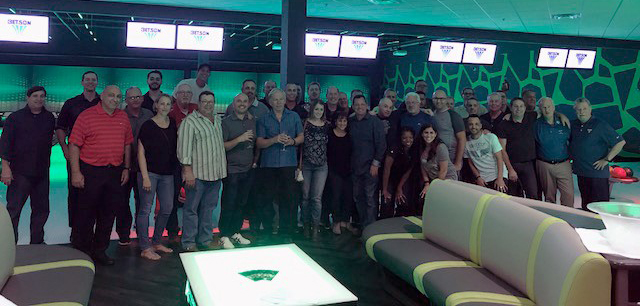 The Betson team gathers for a night of bowling & go-karting at Andretti's after the sales summit