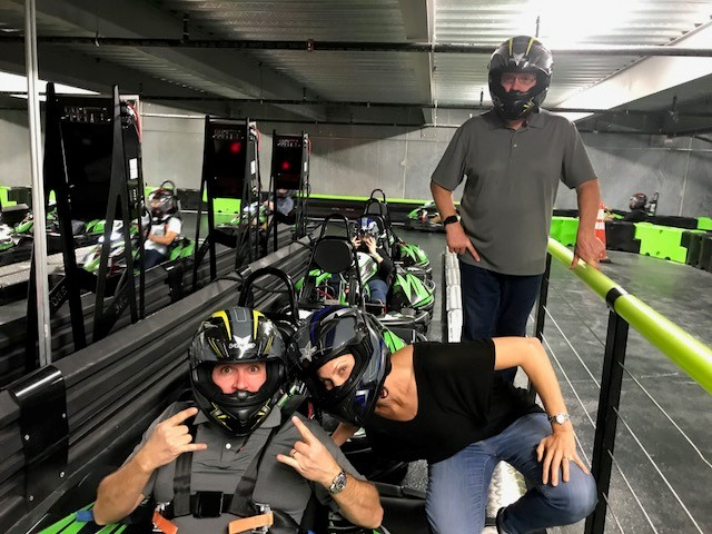 Imperial's Zach DiMotta, and Betson's Catherine Algra & Bill Seibert enjoy a night of go-karting at Andretti's