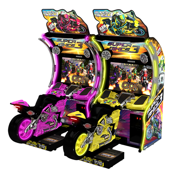 Super Bikes 3 Double/Twin Bikes Pink and Yellow - Raw Thrills - Water Parks